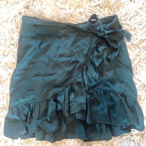 Satin Ruffle Mini Skirt